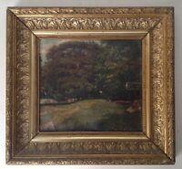 Tableau ancien XIXe Impressionniste Femme assise dans un Parc Huile signée