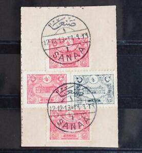 TURKEY in YEMEN  1913 Lovely SANAA PostMarks on Cross Cut-Out, Must LOOK ,Jemen
