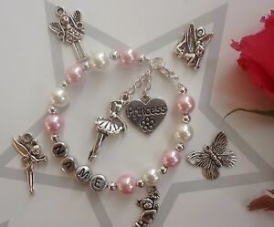 GIRLS PERSONALISED BRACELET HELLO KITTY  TINKERBELL PRINCESS ANY CHARM CHOICE