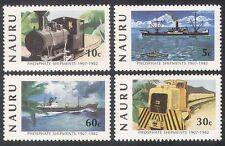 Nauru 1982 Trains/Steam/Rail/Railways/Ships/Boats/Mining/Transport 4v set n25710