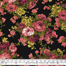 100% Cotton Fabric FQ Rose Floral Bouquet Retro Print Dress Quilting Crafts VK11