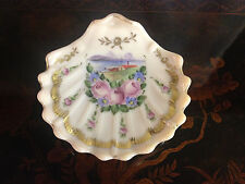 Vintage Opaline Glass Shell Form Compote w/ Painted Floral & Sea Decoration
