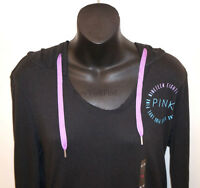 NWT VICTORIA'S SECRET LOVE PINK PULLOVER HOODIE GRAPHIC Long Sleeve Black Shirt