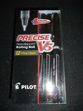 Pilot Precise V5 35380, BLACK Ink, 0.5mm Extra Fine Rolling Ball Pen, Box of 12