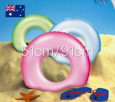 Bestway 76cm/91cm Inflatable Frosted Neon Swim Ring Swimming Pool Water Fun Toy 76cm Blue