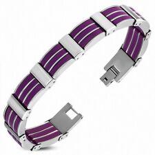 Bracelet for Men Steel and Rubber Purple