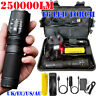 250000LM T6 LED Zoomable Torch Tactical Military Flashlight Headlamp Waterproof