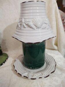 Yankee Candle Large White Rustic Seashell Shade & Plate Set - EUC