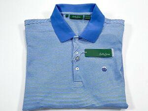 Bobby Jones L Blue Stripe Short Sleeve Peruvian Pima Cotton Golf Polo NEW NWT