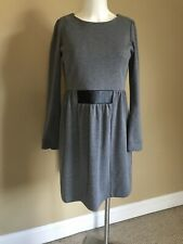 Mary Quant Of London 70s vintage dress Grey With Faux Leather Back Zip Medium M