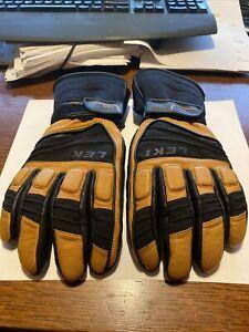 Leki Griffin S Leather Ski Gloves Men's Tan and Black Size 9.5