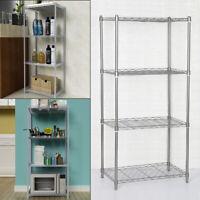 Silver Metal Storage Rack/Shelving Wire Shelf Kitchen/Office Unit Stand 4 Tier