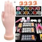 Flexible Training Hand With Acrylic Nail Art Set Glitter Powder Tips Tools Kit