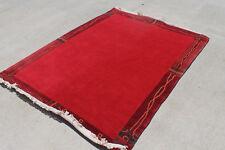R2692 Gorgeous Bright Red Woolen Tibetan Area Rug 4.7 ' X 6.7' Handmade in Nepal