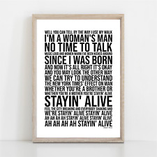 More details for bee gees stayin' alive song lyrics poster print wall art