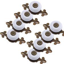 8x Möbelknopf Porzellan Möbelknauf für Schubladen Weiss& Altgold Möbelknopf