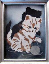 Vintage Cat Kitten Picture Framed Under Glass Painted on Felt Charming