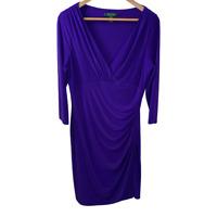 Lauren Ralph Lauren Womens 3/4 Sleeve V Neck Sheath Dress Ruched Stretch Size 14
