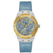 Guess Donna Orologio Watch Woman Uhr Jet Setter W0289L2 Pelle Azzurro Oro Data