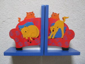 Children's Wooden Animal Cat Bookends USED VGC