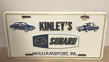 WILLIAMSPORT, PA VINTAGE KINLEY'S SUBARU VANITY PLATE