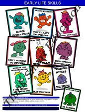 EARLY LIFE SKILLS VALUES KINDNESS SCHOOL EDUCATIONAL POSTER SET (10) A3 SIZE
