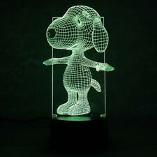 Snoopy 3D Optical Illusion LED Light - 7 Color Change Touch Button