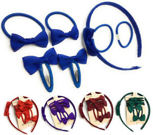 7 PIECE SCHOOL COLOURS Hair Bow Snap Clips SET ALICE BAND Headband PonyTail