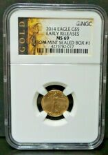 2014 Gold Eagle G$5 1/10 Oz  Early Releases NGC MS 70 From SEALED MINT BOX #1