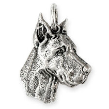 More details for solid sterling silver great dane dog pendant (handmade uk, also in gold)