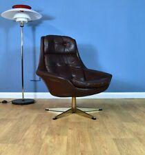Mid Century Retro Danish Bramin 'Pirouette' Brown Leather Swivel Lounge Armchair