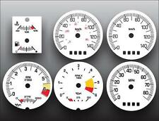 1984-1985 Pontiac Fiero METRIC KPH KMH GT Coupe Dash Cluster White Face Gauges