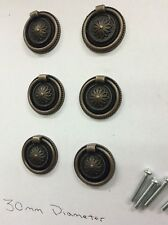 6x Drawer Handles Victorian/Georgian /Antique Style Bronze Ring Pull Knobs,30mm