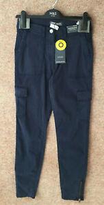 M&S Goodmove Sizes 8R 10S 10R 10L 12S Navy Tencel Skinny Cargo Trousers Bnwt