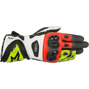 ALPINESTARS SUPERTECH GLOVES / BLACK-YELLOW-FLUO RED / SIZE SMALL