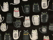 Fat Cats Accent Eyes Collars Black Cat Whe Gry Digital Cotton Fabric Fq