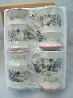 Avon SWEET COUNTRY HARVEST Set of 4 Pedestal Coffee Tea Mug Fruit Red Trim NEW