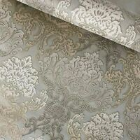 Paper Wallpaper rolls wall coverings vintage damask olive green beige textured