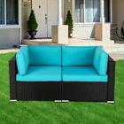 Kinsunny 2pc Rattan Wicker Corner Sofa Outdoor Blue Cushioned Garden Guest Room