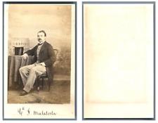 Comte F. Malatesta CDV vintage albumen carte de visite, provenance album de démo