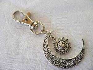 Sun and moon bag charm,wiccan key chain, keyring,bag accessory, pagan gift