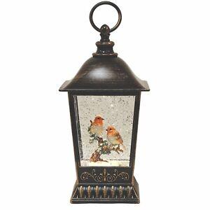 Christmas Two Robins Water Glitter Spinner LED Lantern Lamp LED Light 27cm High