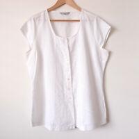 LONG WEEKEND Yarra Trail White Cotton Linen Broderie Button Shirt Top Size 16