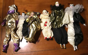 Vintage Clown Family, 5 Porcelain & 1 Rubber Head, painted Faces (Lot of 6)