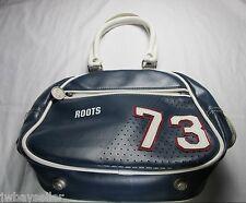 Roots Varsity 73 Satchel Handbag Purse RETRO Navy Blue w/ White Trim 100% PVC