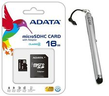 Adata 16GB MicroSD Micro SD Flash Class 4 Memory Card+ Stylus For HTC Flyer CDMA