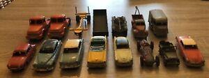 Lot 15 DINKY TOYS France anciens Citroën, Renault, Simca, en l'état pour pièces