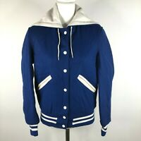 Vintage DeLong Womens 38 Blue White Wool Varsity Bomber Jacket Hooded Snap Front