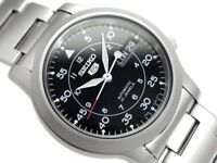 SEIKO 5 AUTOMATIC MEN WATCH MILITARY SNK809 SNK809K SNK809K1 BLACK FACE, SS BAND