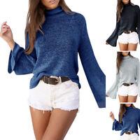 Women Summer Casual High Collar Loose Long Bell Sleeve Shirt Blouse Tops T-Shirt
